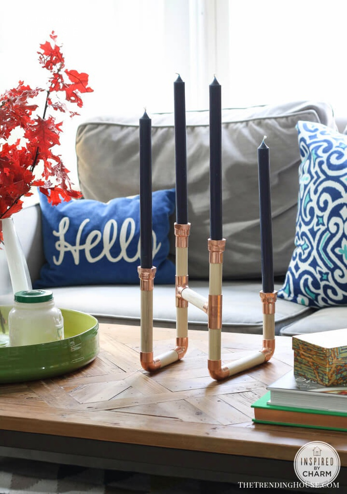 DIY Industrial Pipe and Hardware Candelabra