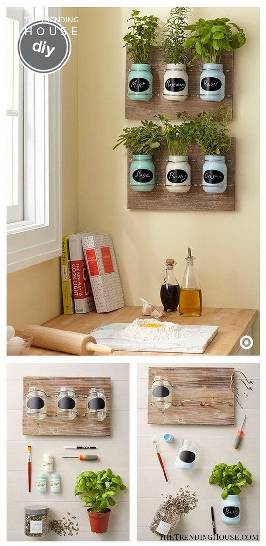 DIY Mason Jar Spice Garden Wall Decor