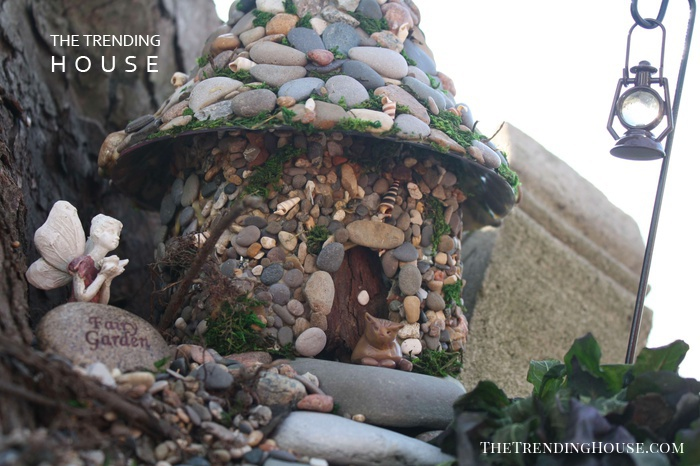 DIY Pebble-Pasted Bottle Fairy House
