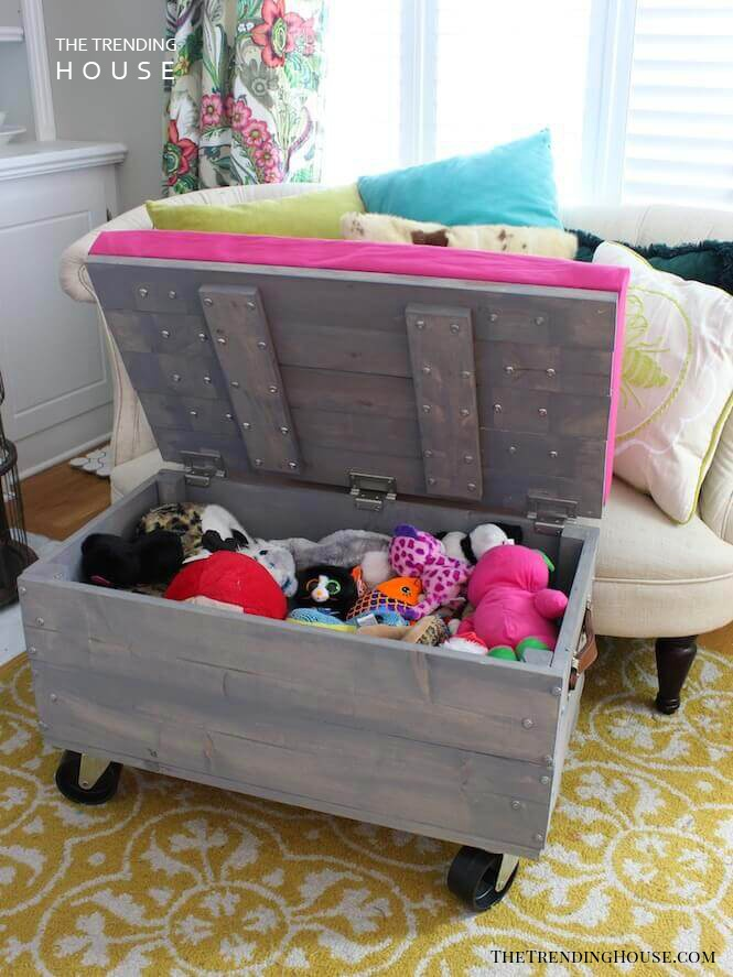 DIY Rolling Toy Storage Ottoman