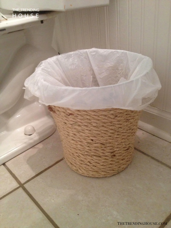 DIY Rope Wrapped Waste Basket