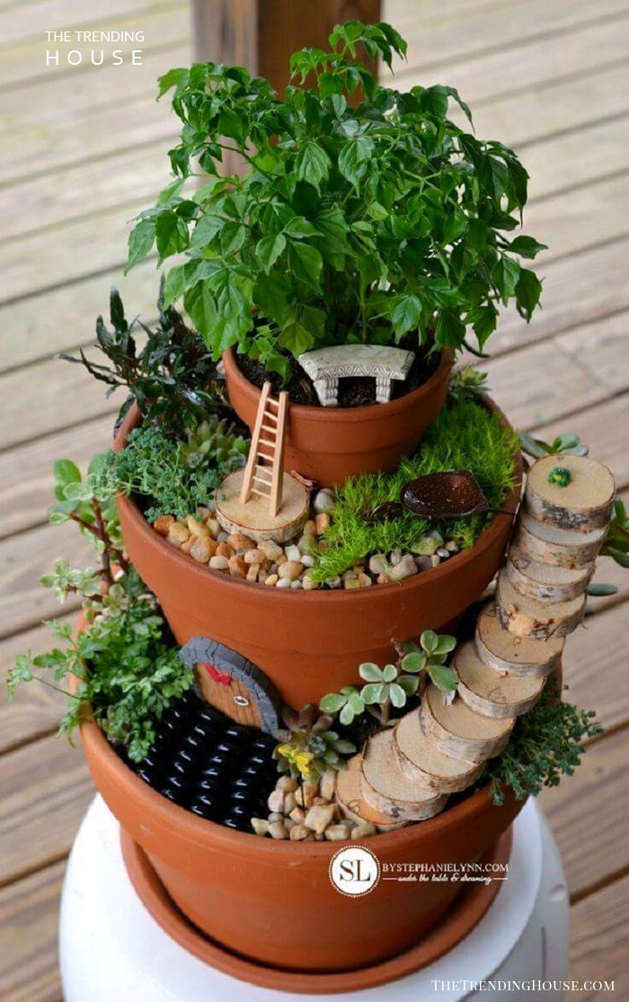 DIY Tiered Fairy Tower Pots