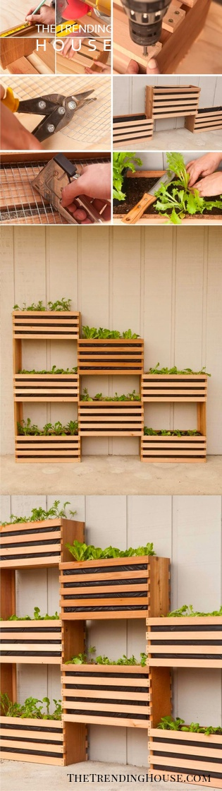 DIY Wood Crate Planter Boxes