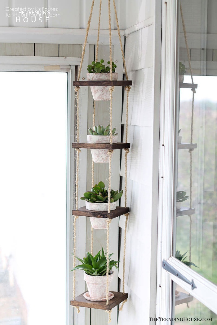 DIY Wood and Twine Hanging Succulent Tower