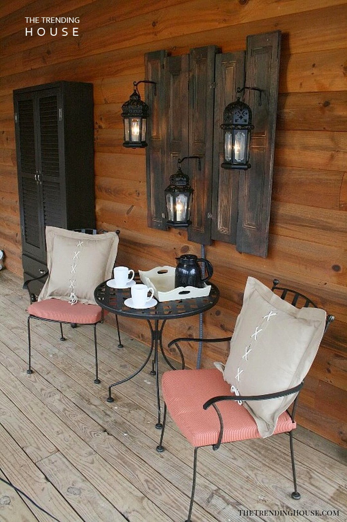 Dark Stained Wood Wall Hanging with Lanterns