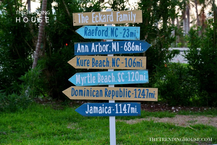 Directional Mileage Family Name Sign
