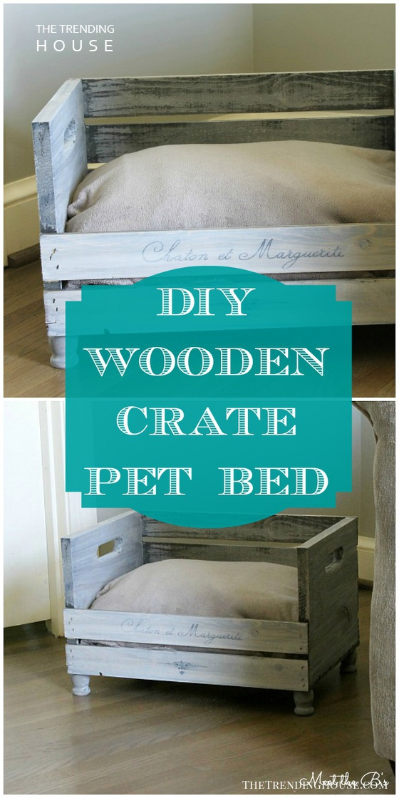 Distressed Wooden Crate DIY Pet Bed Idea