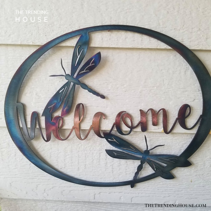 Dragonfly Welcome Garden Sign