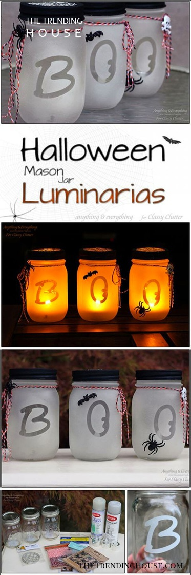 "Easy ""Boo"" Halloween Mason Jar Crafts"
