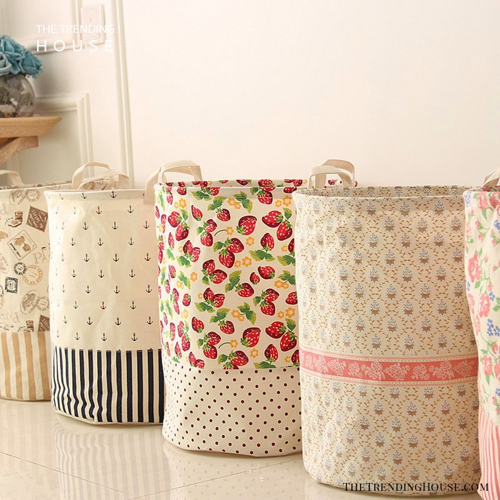 Easy DIY Vintage Storage Baskets Made from Vintage Linens
