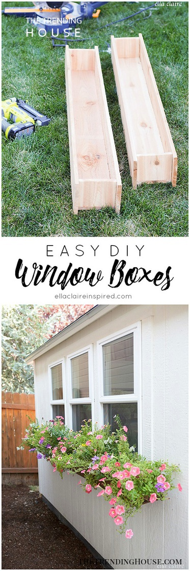 Easy DIY Wooden Window Boxes