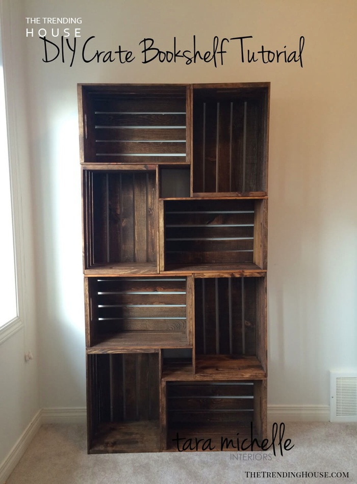 Easy Rustic Stained Wood DIY Crate Storage