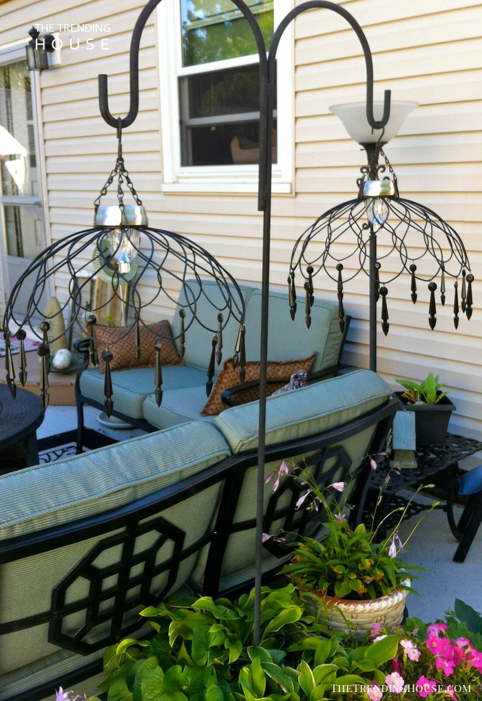 Elegant Wired Basket Solar Chandelier