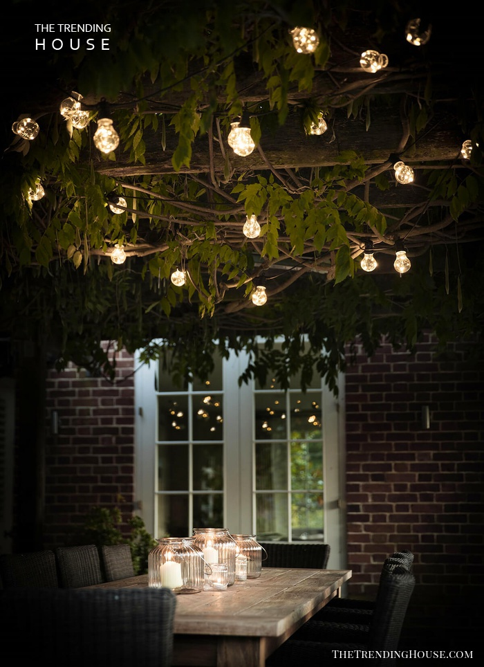 Exposed Globe Lights Over a Table