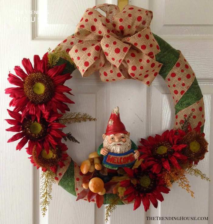 Fall-Inspired Wreath with Gnome