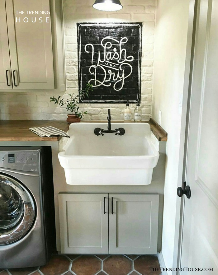 "Farmhouse Sink Plus ""Wash and Dry"" Sign"