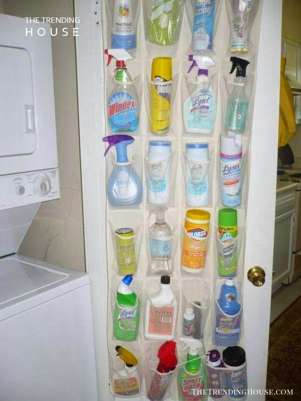 Fill a Shoe Organizer with Cleaning Supplies