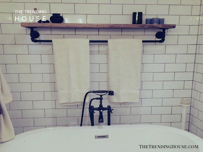 Floating Shelves with Towel Bar