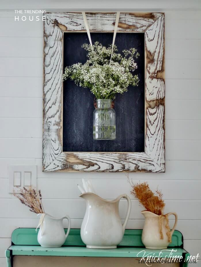 Flower Spray Weathered Mason Jar Wall Art