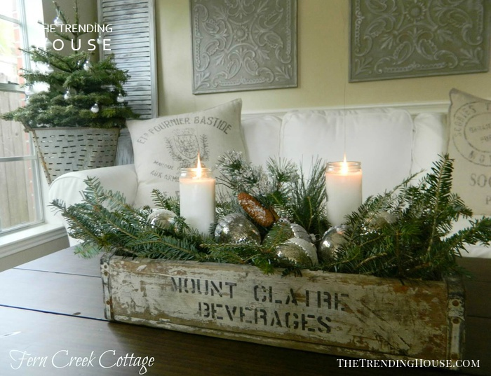Fragrant Boughs and Rustic Crate Table Arrangement