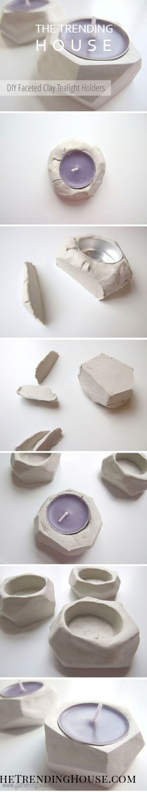 Free-Form Sculpted Clay Tea Lights