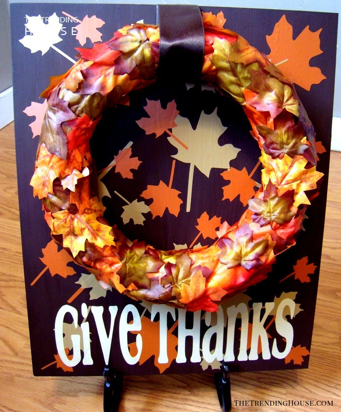 """""""Give Thanks"""" Sign with Easy Faux Foliage Wreath"""