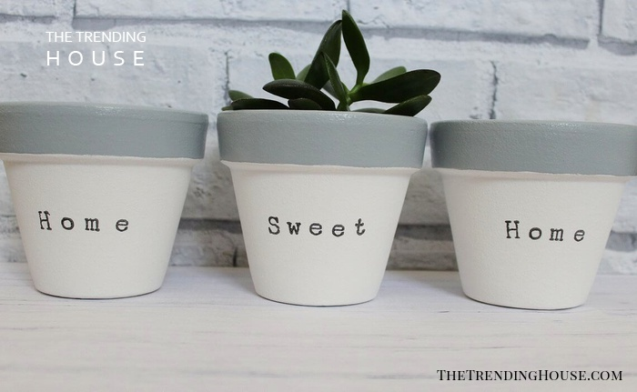 """Hand-Stamped """"Home Sweet Home"""" Set of Three"""