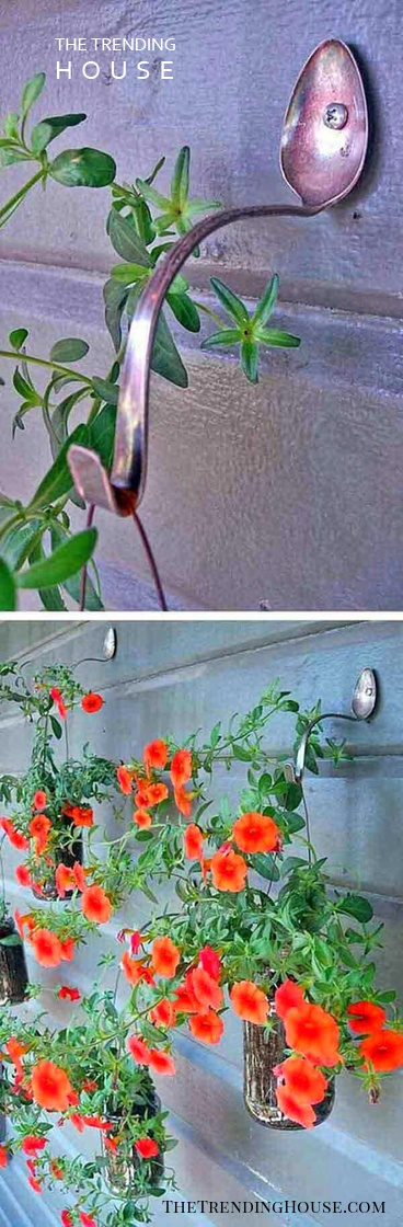 Hanging Basket Hooks Made From Spoons