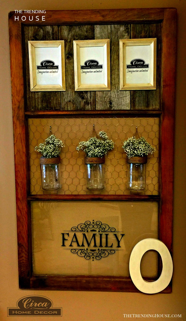 Hardwood Picture Frame Mason Jar Wall Decor