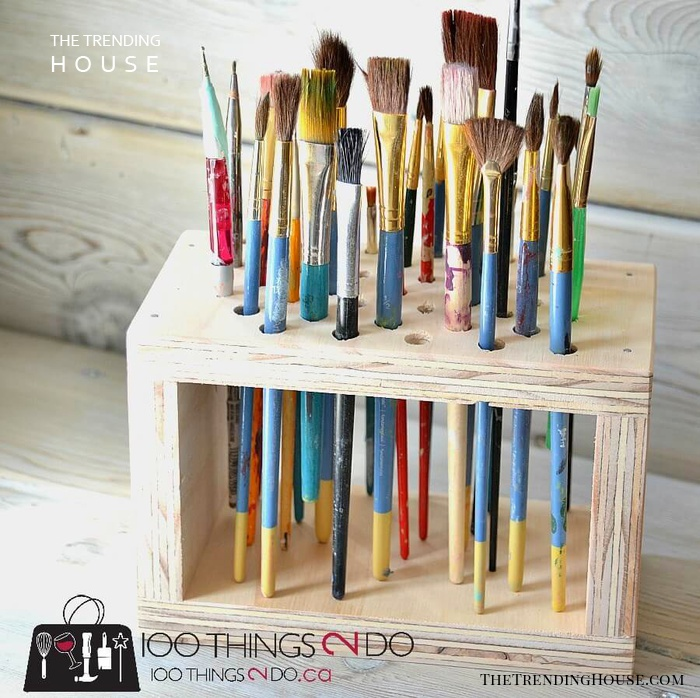 Hold That Paint Brush Wood Organizer
