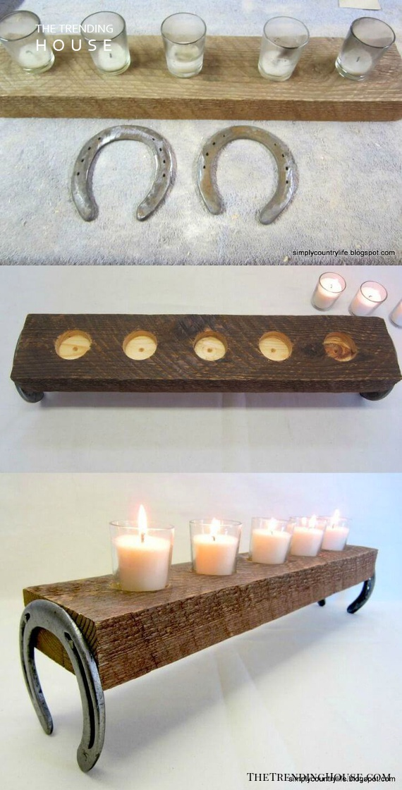 Horseshoe and Barn Wood Country Candle Décor