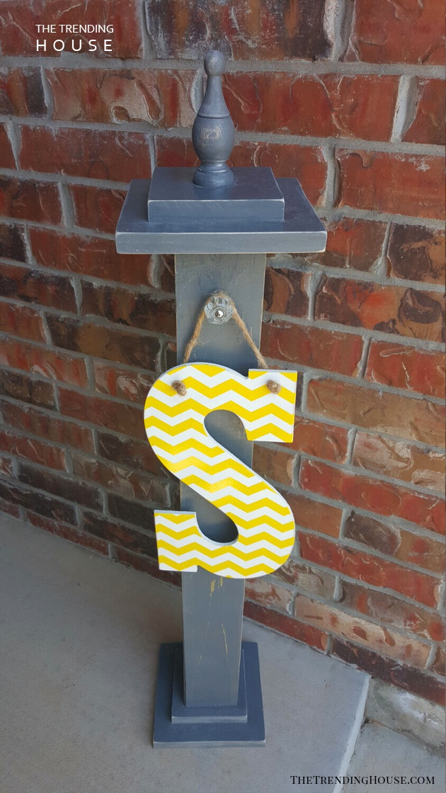 Initial Letter Sign for Front Porch Post