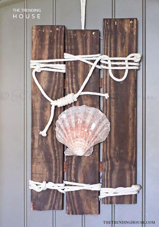 Knotted Rope Seashell Wall Art