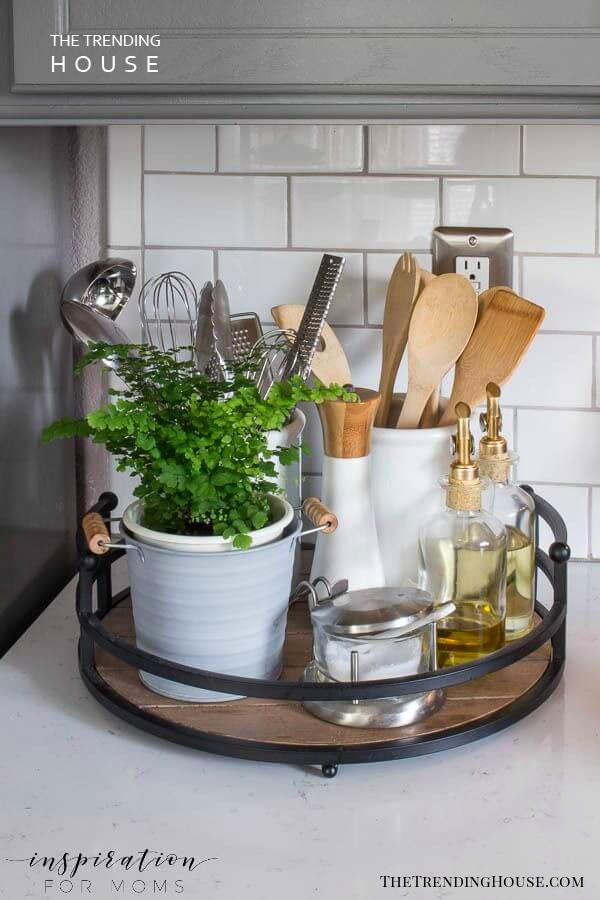 Lazy Susan Kitchen Gadget Organizer
