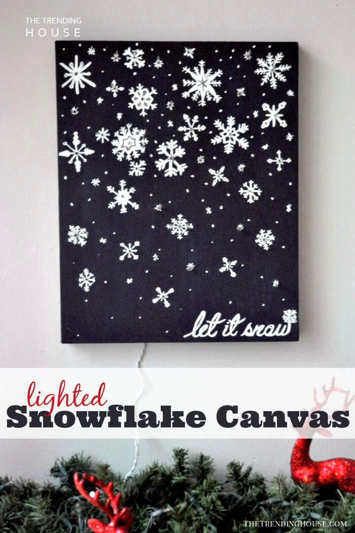 Lighted Snowflakes Canvas Wall Hanging