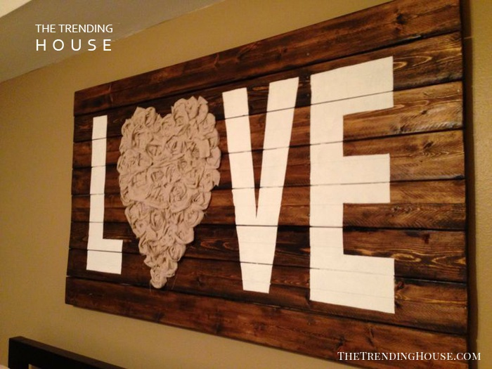 """Love"" Wall Art with Reclaimed Wood and Fabric"