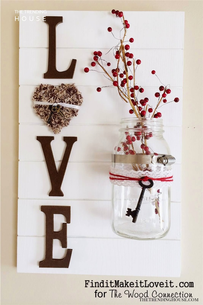 Lovely Mason Jar Wall Decor With Key