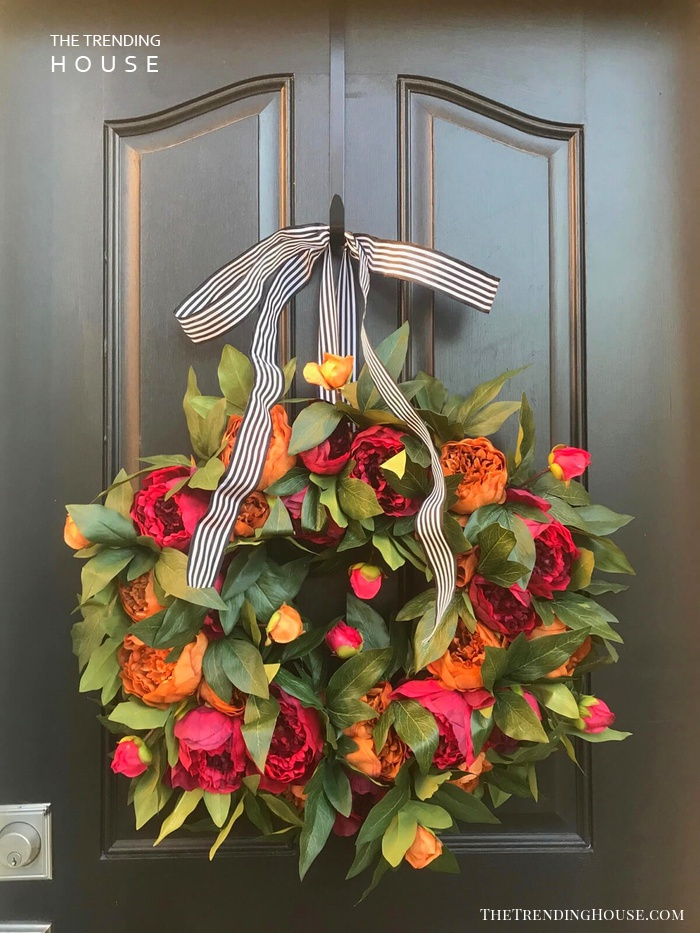 Luscious Rose and Orange Peonies and Leaves