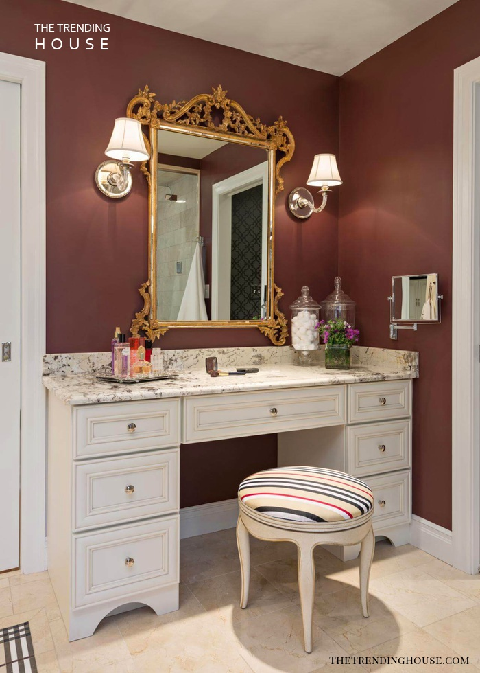 Marble-Topped Vanity with Baroque-Style Mirror