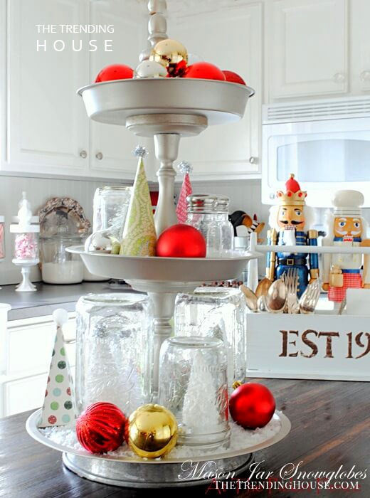 Mason Jar Snow Globes On A Three-tiered Tray