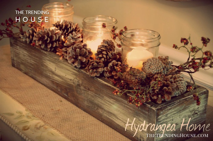 Mason Jar Votive Holder Crate with Woodland Accents