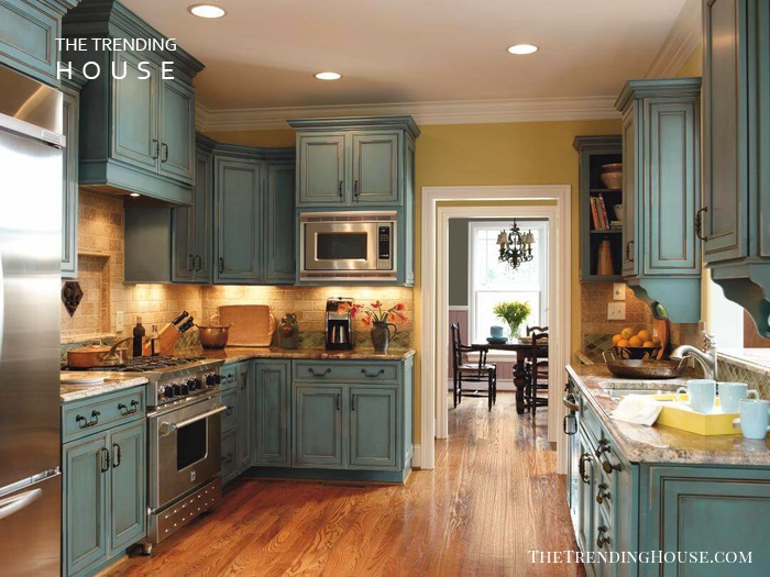 Mediterannean Blue Rustic Kitchen