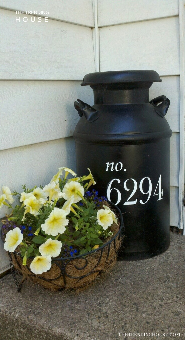 Milk Can and Metal Basket Flower Display