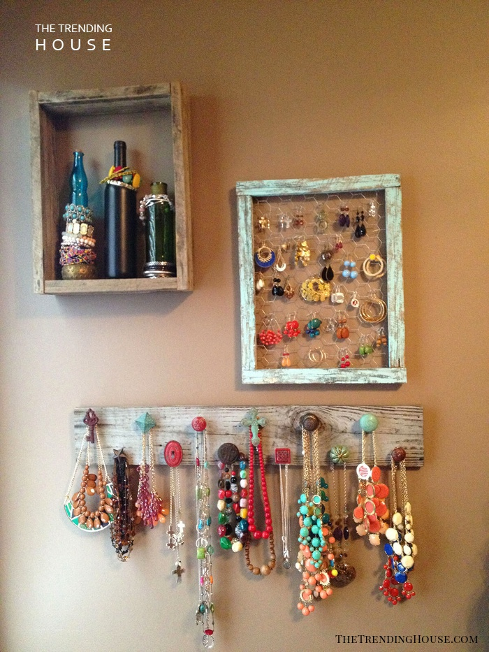 Mixed Barn Wood Jewelry Wall Displays