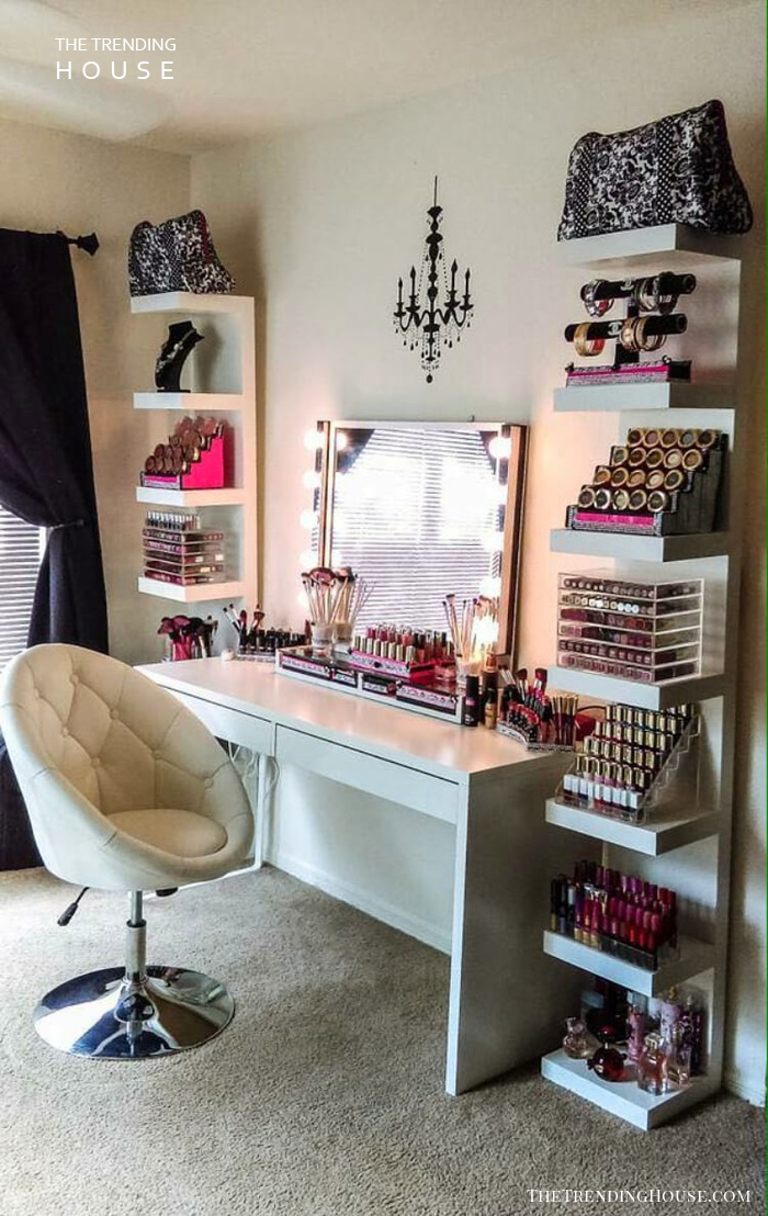 Modern Glam Makeup Vanity and Storage Shelves