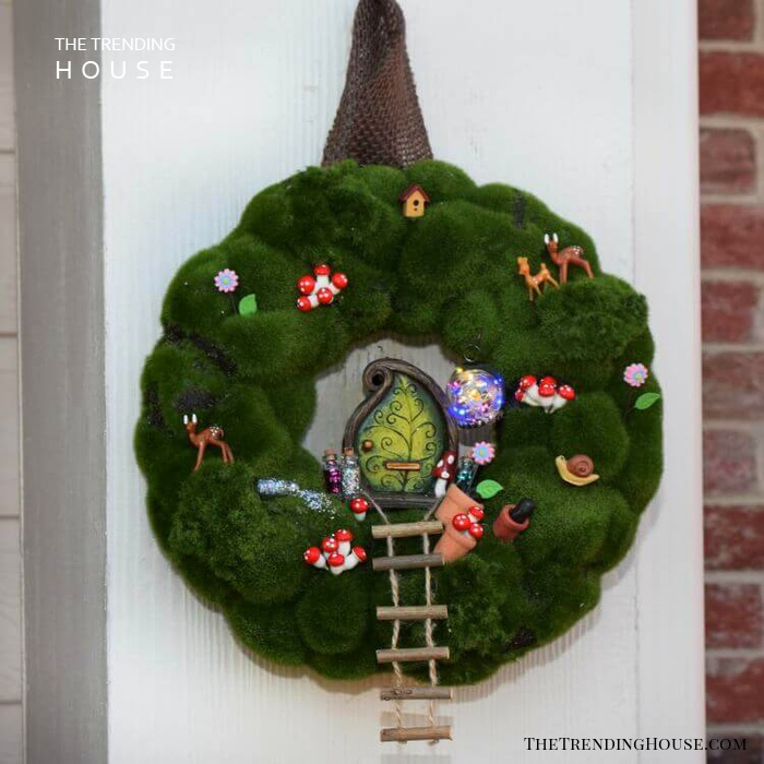 Mossy Wreath with Climbing Ladder