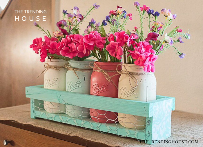 Multi-Colored Jars with Wooden Crate