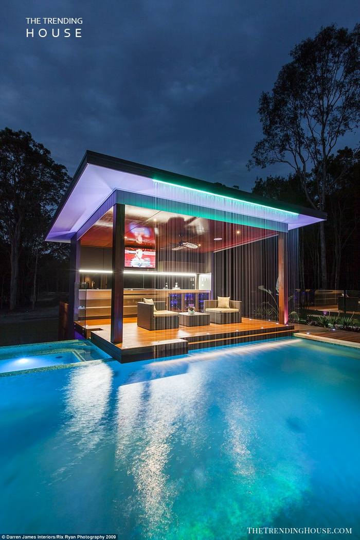 Neon Lined Pool Patio
