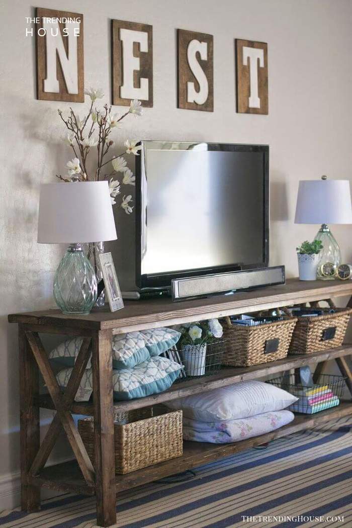 Nest Sign, Rattan Baskets, and TV Table