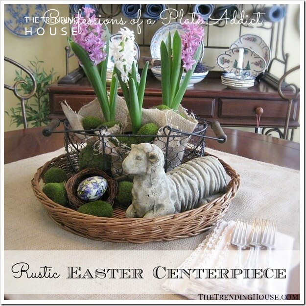 Nested Baskets with Flowers and Decorative Eggs